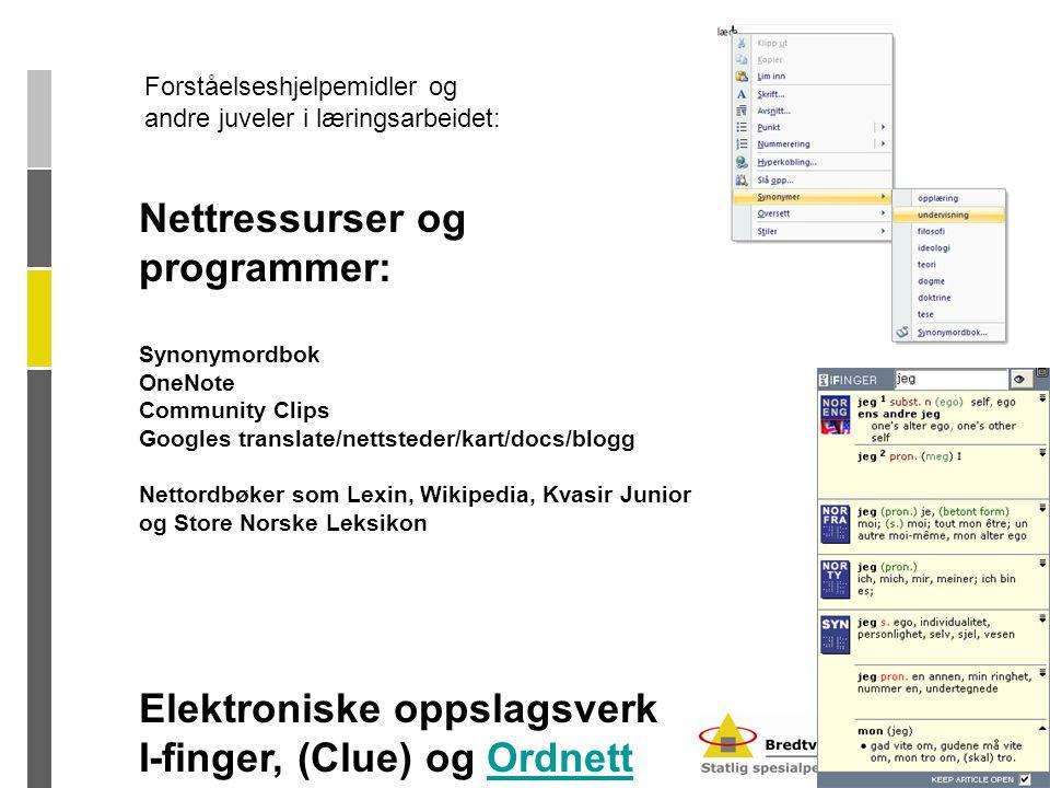 Nettressurser og programmer: