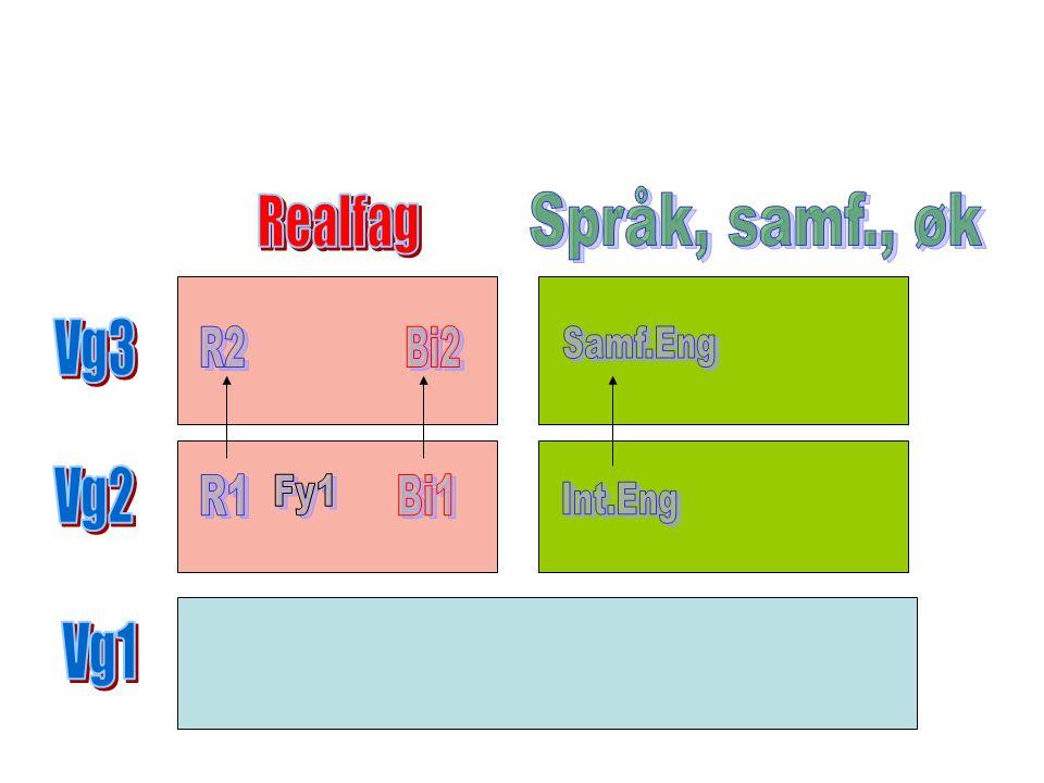 Språk, samf., øk Realfag Vg3 Vg2 Vg1 R2 Bi2 Samf.Eng R1 Fy1 Bi1