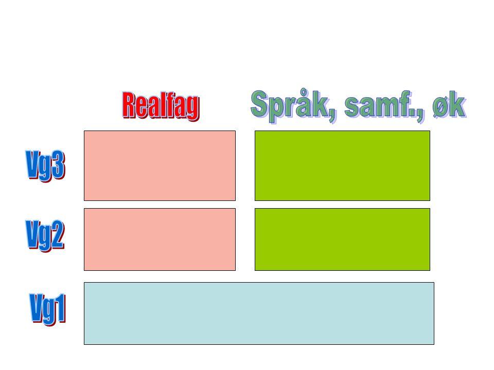Språk, samf., øk Realfag Vg3 Vg2 Vg1