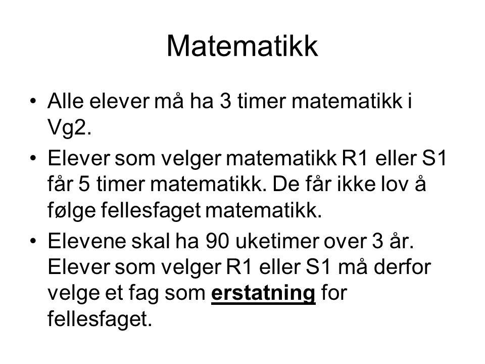 Matematikk Alle elever må ha 3 timer matematikk i Vg2.