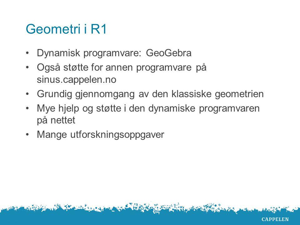 Geometri i R1 Dynamisk programvare: GeoGebra