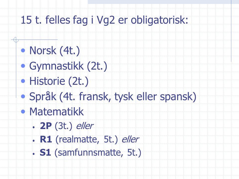 15 t. felles fag i Vg2 er obligatorisk: Norsk (4t.) Gymnastikk (2t.)