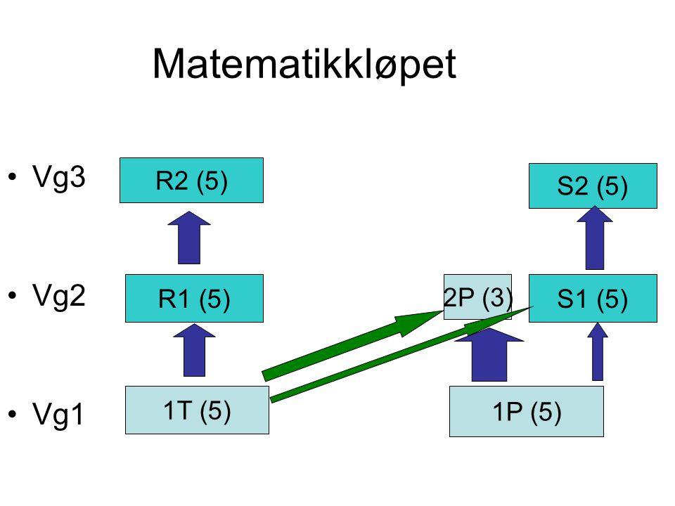 Matematikkløpet Vg3 Vg2 Vg1 R2 (5) S2 (5) R1 (5) 2P (3) S1 (5) 1T (5)