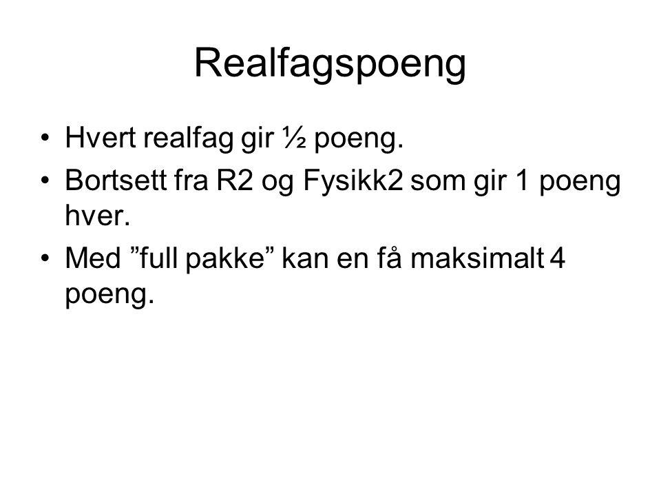 Realfagspoeng Hvert realfag gir ½ poeng.
