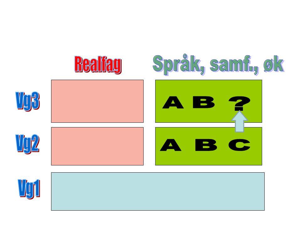 Språk, samf., øk Realfag Vg3 A B Vg2 A B C Vg1