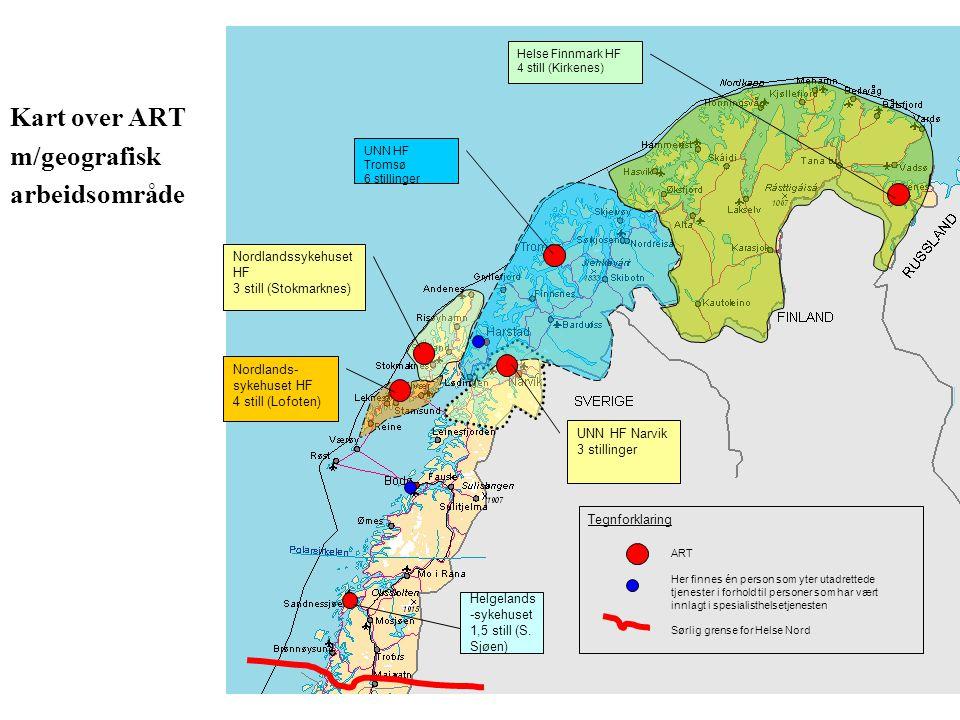 Kart over ART m/geografisk arbeidsområde Nordlandssykehuset HF