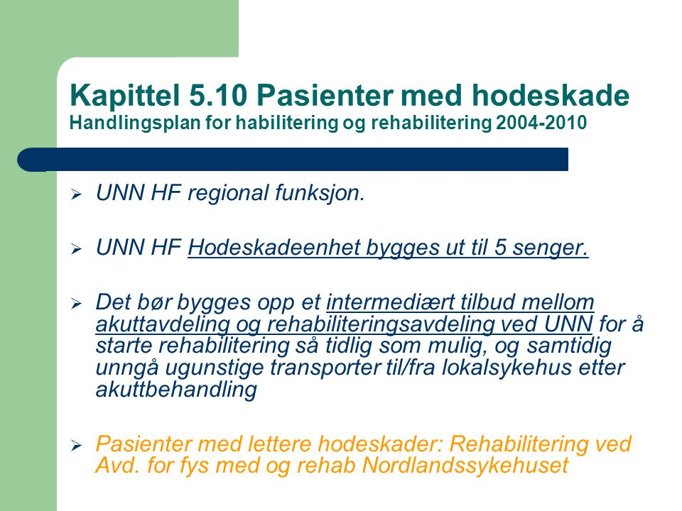Kapittel 5.10 Pasienter med hodeskade Handlingsplan for habilitering og rehabilitering 2004-2010