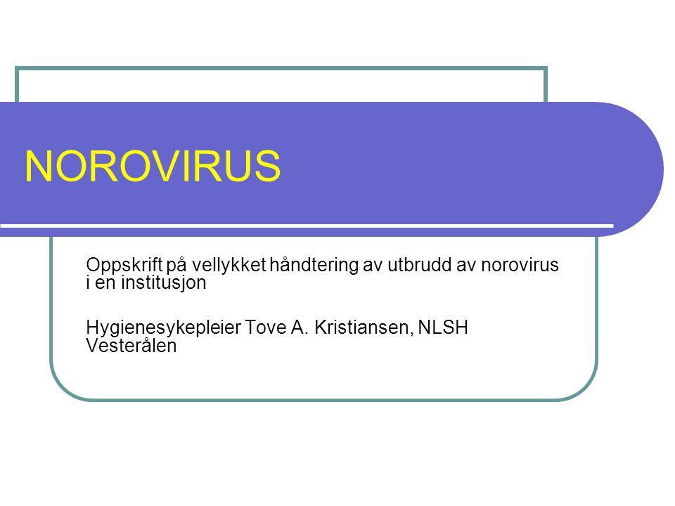 NOROVIRUS Oppskrift på vellykket håndtering av utbrudd av norovirus i en institusjon.