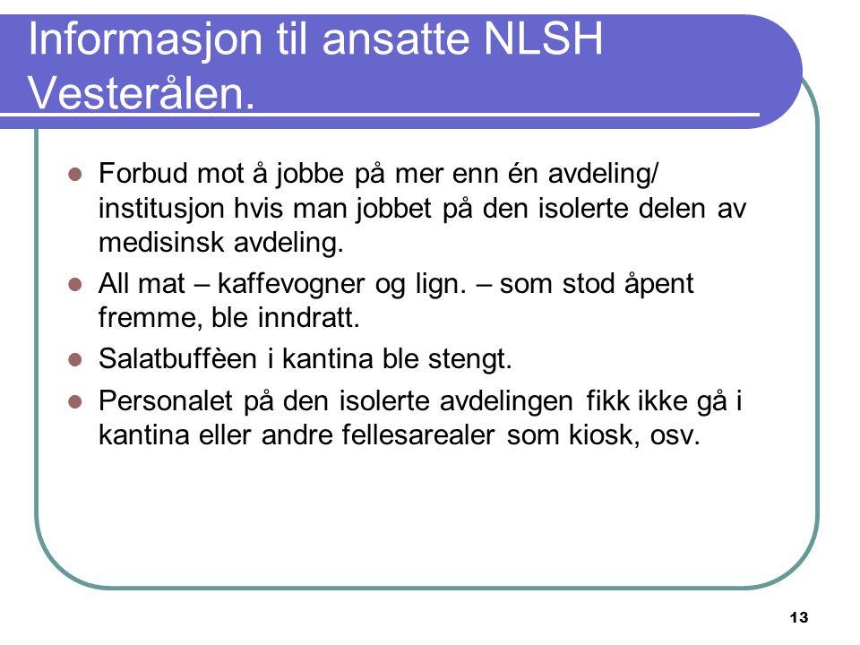 Informasjon til ansatte NLSH Vesterålen.