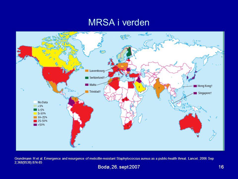 MRSA i verden Bodø, 26. sept 2007 Globale utfordringer