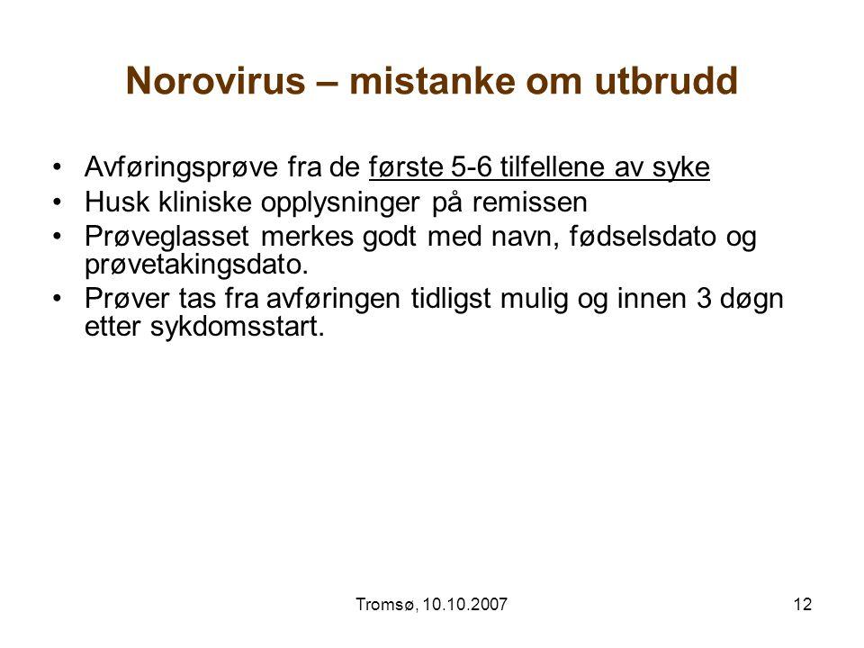 Norovirus – mistanke om utbrudd