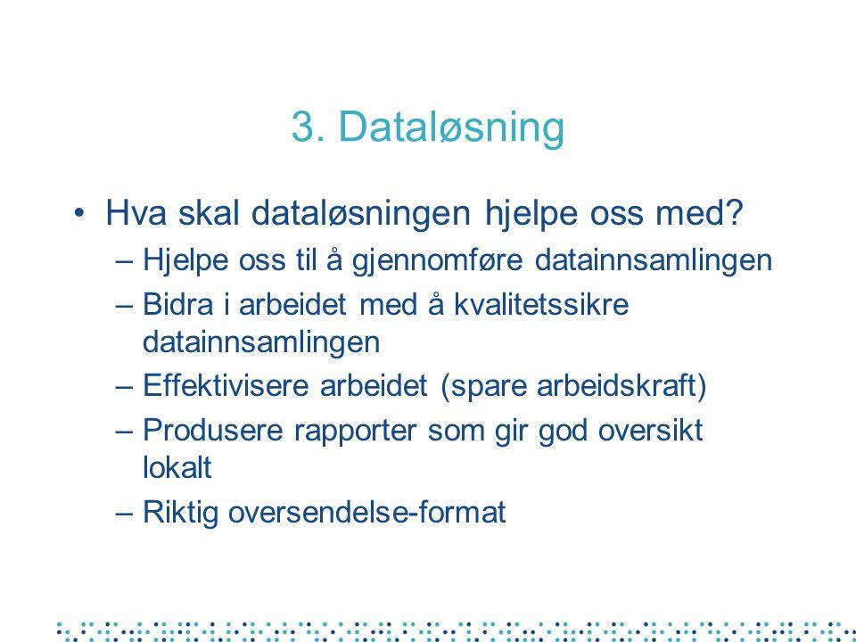 3. Dataløsning Hva skal dataløsningen hjelpe oss med