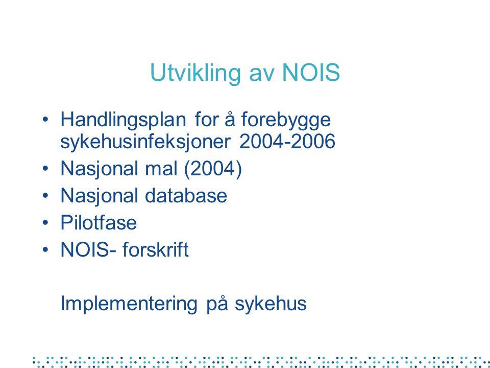 Utvikling av NOIS Handlingsplan for å forebygge sykehusinfeksjoner 2004-2006. Nasjonal mal (2004) Nasjonal database.