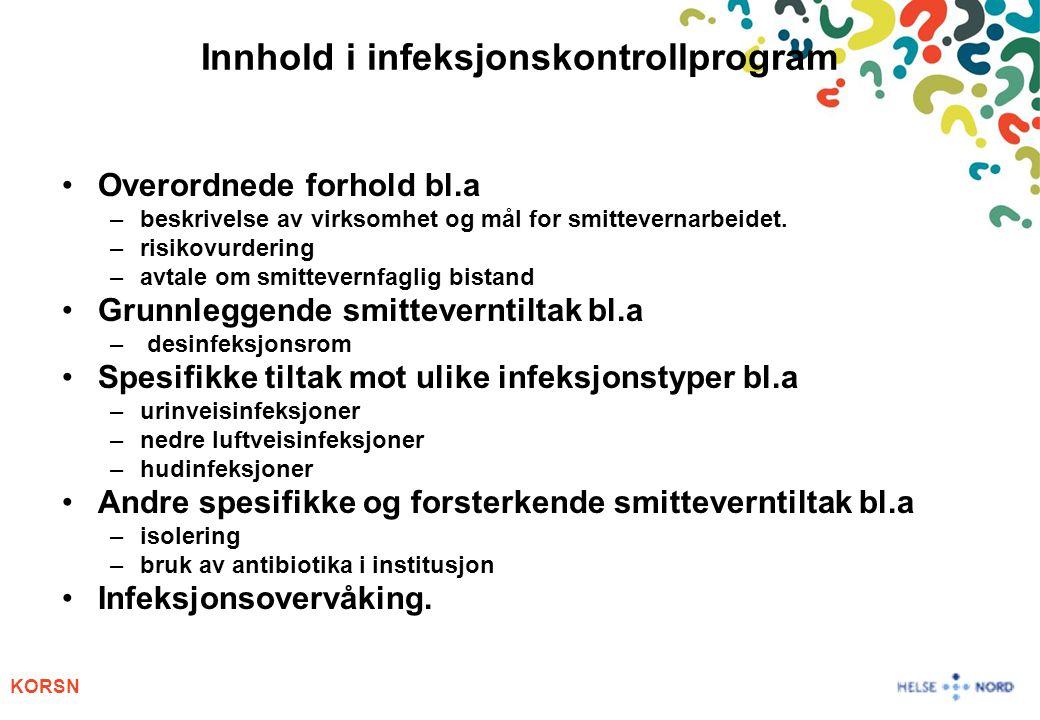 Innhold i infeksjonskontrollprogram