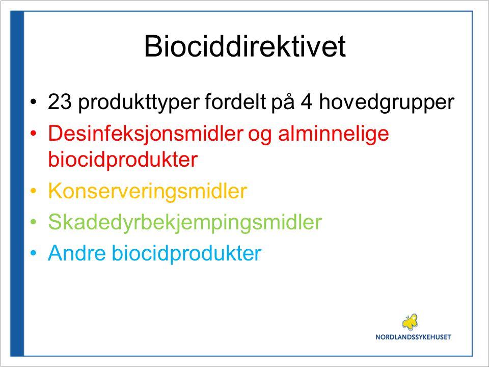 Biociddirektivet 23 produkttyper fordelt på 4 hovedgrupper