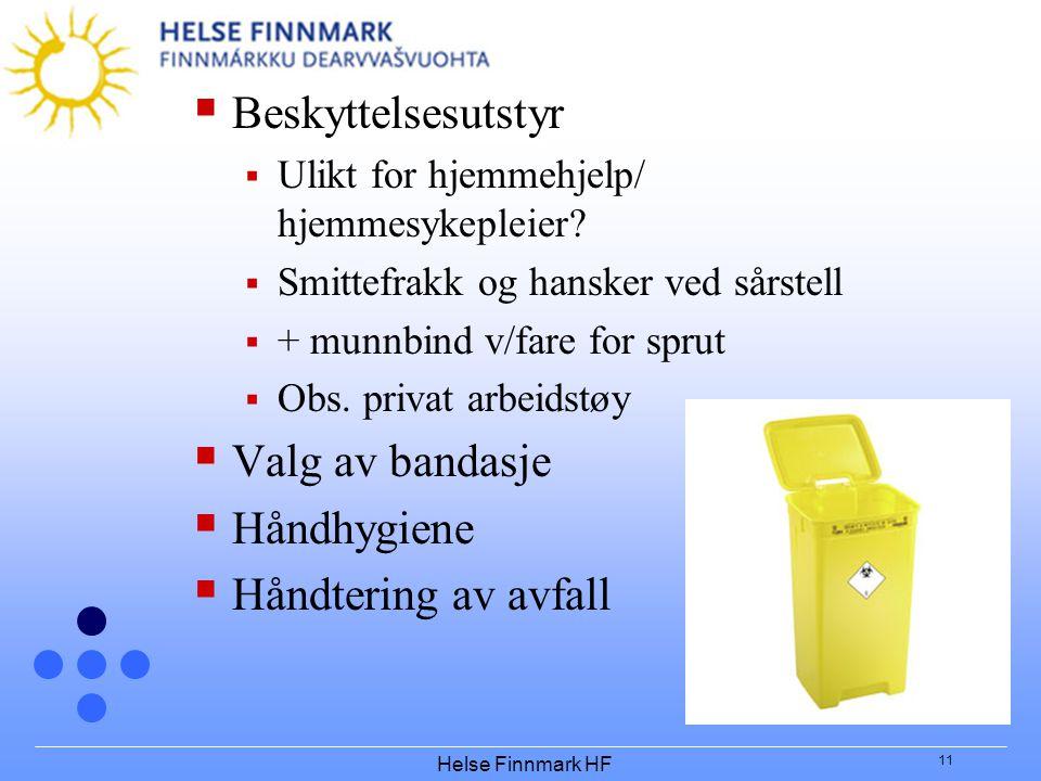Beskyttelsesutstyr Valg av bandasje Håndhygiene Håndtering av avfall