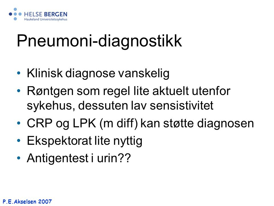 Pneumoni-diagnostikk