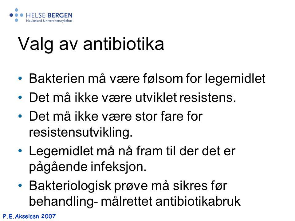 Valg av antibiotika Bakterien må være følsom for legemidlet