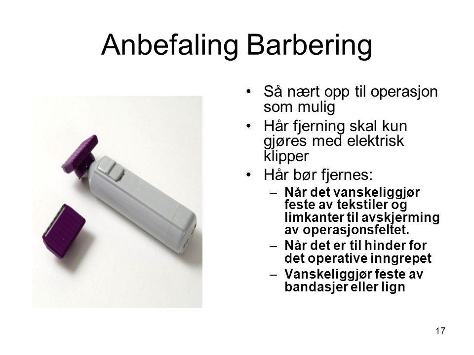 Anbefaling Barbering Så nært opp til operasjon som mulig
