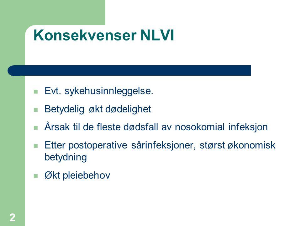 Konsekvenser NLVI Evt. sykehusinnleggelse. Betydelig økt dødelighet