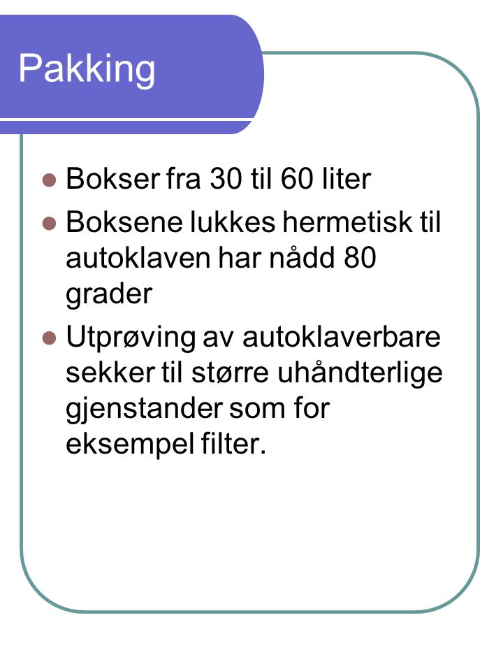 Pakking Bokser fra 30 til 60 liter
