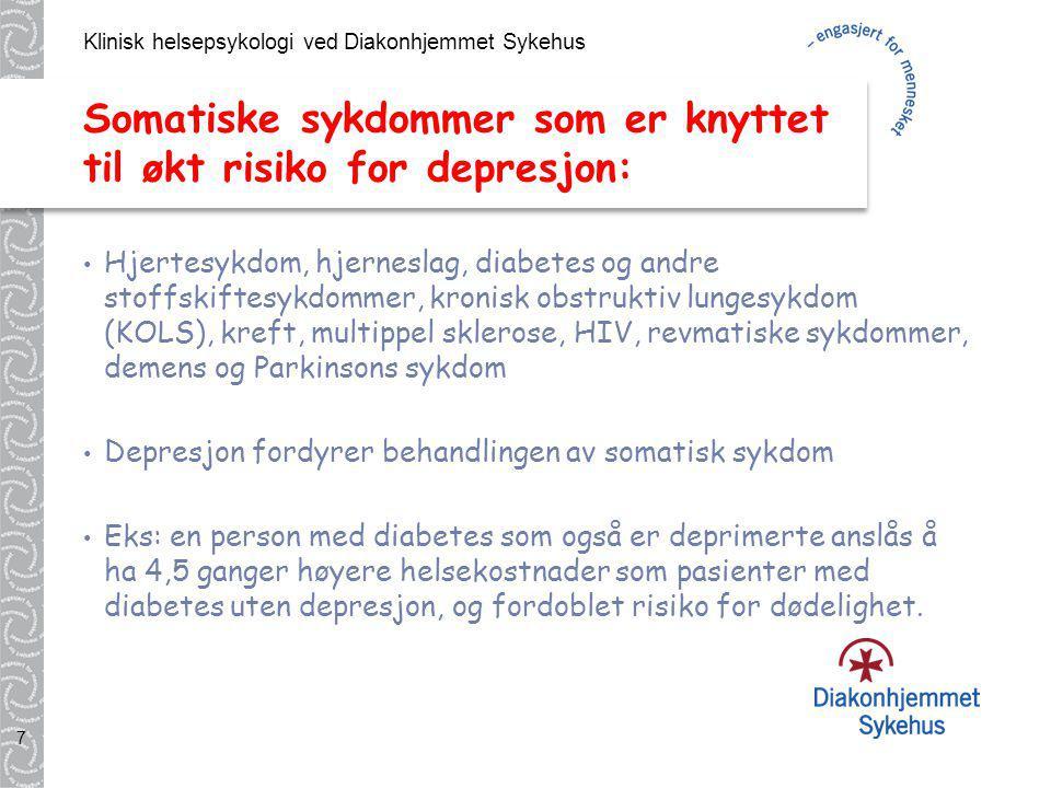 Somatiske sykdommer som er knyttet til økt risiko for depresjon: