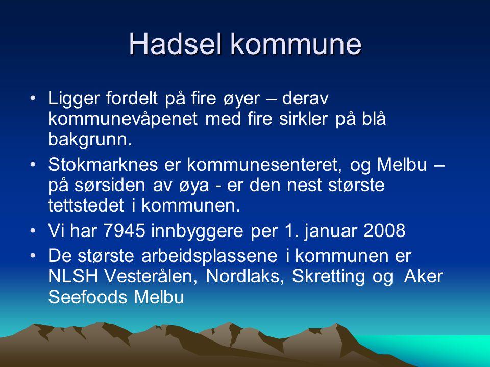 Hadsel kommune Ligger fordelt på fire øyer – derav kommunevåpenet med fire sirkler på blå bakgrunn.