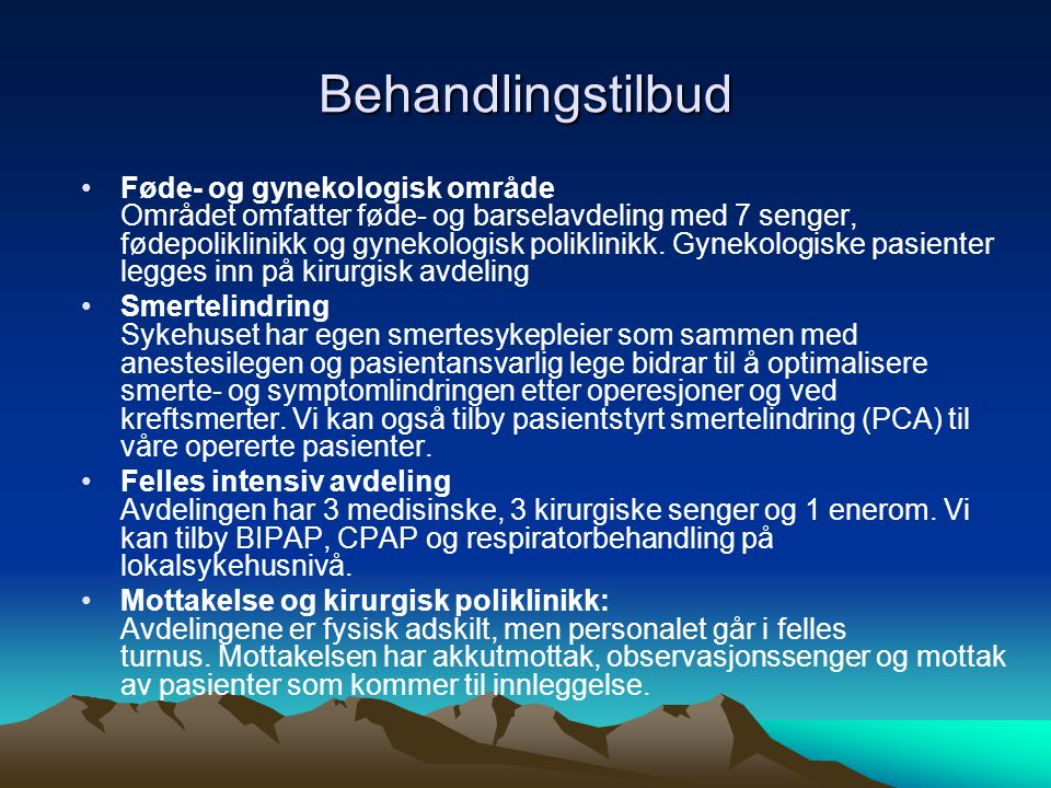 Behandlingstilbud