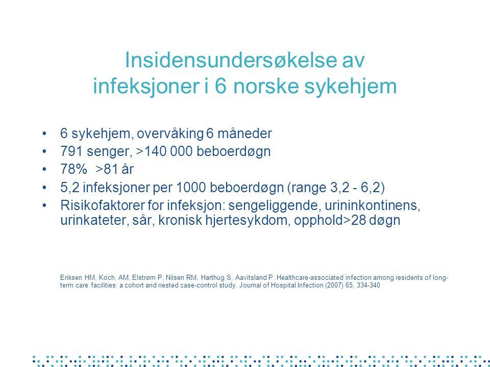 Insidensundersøkelse av infeksjoner i 6 norske sykehjem
