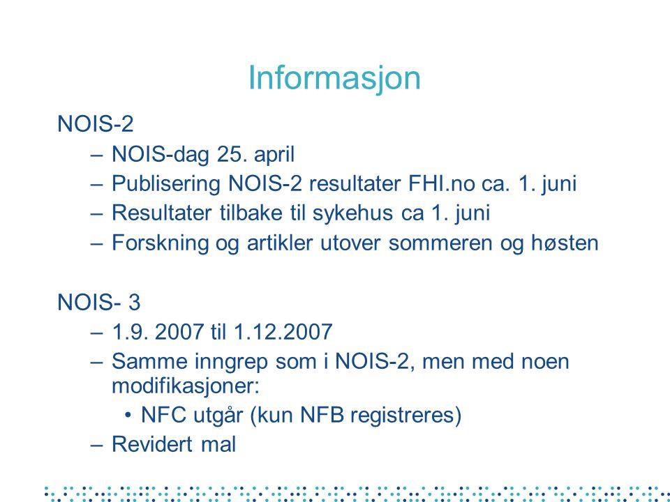 Informasjon NOIS-2 NOIS- 3 NOIS-dag 25. april
