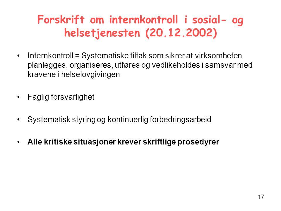 Forskrift om internkontroll i sosial- og helsetjenesten (20.12.2002)