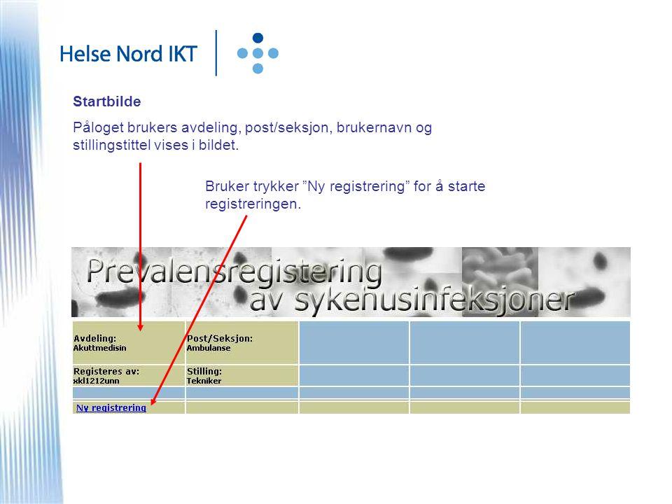 Startbilde Påloget brukers avdeling, post/seksjon, brukernavn og stillingstittel vises i bildet.