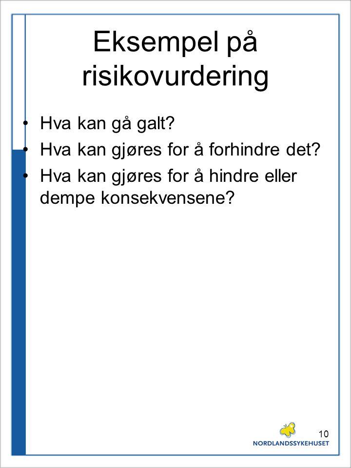 Eksempel på risikovurdering