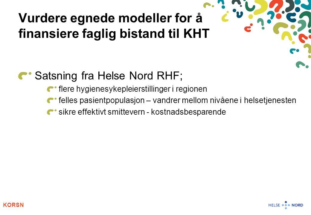 Vurdere egnede modeller for å finansiere faglig bistand til KHT