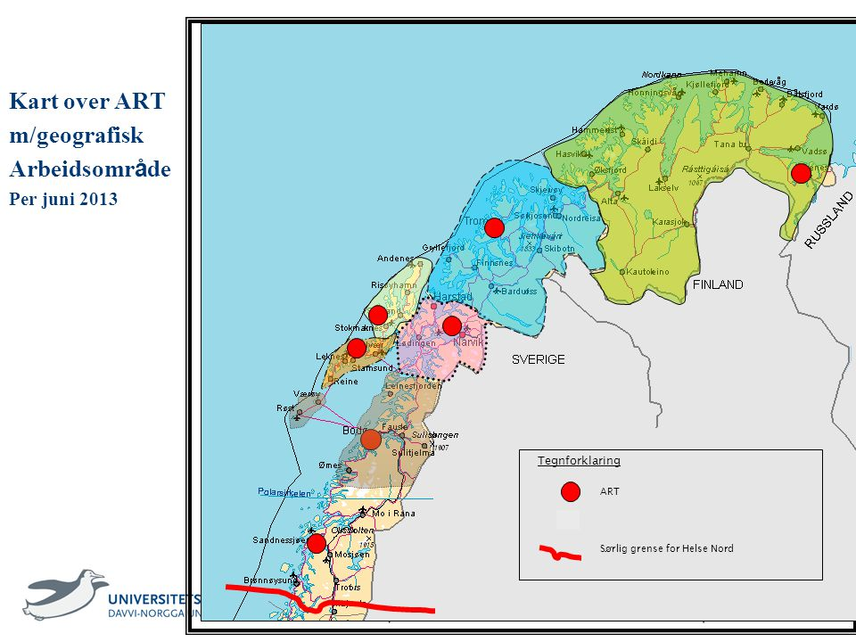 Kart over ART m/geografisk Arbeidsområde Per juni 2013 Tegnforklaring
