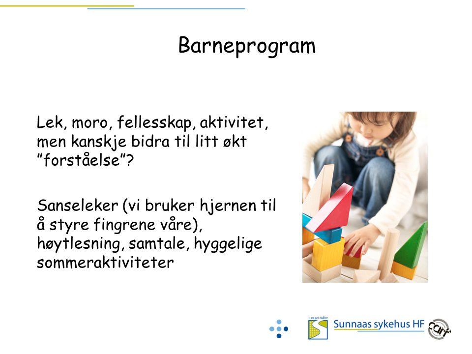 Barneprogram Lek, moro, fellesskap, aktivitet, men kanskje bidra til litt økt forståelse