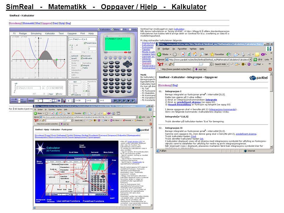 SimReal - Matematikk - Oppgaver / Hjelp - Kalkulator