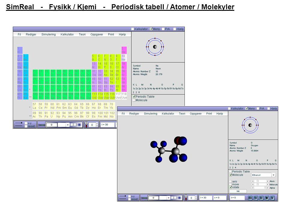 SimReal - Fysikk / Kjemi - Periodisk tabell / Atomer / Molekyler