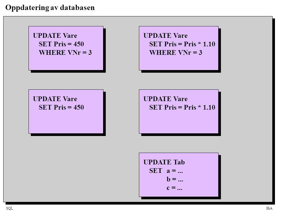 Oppdatering av databasen