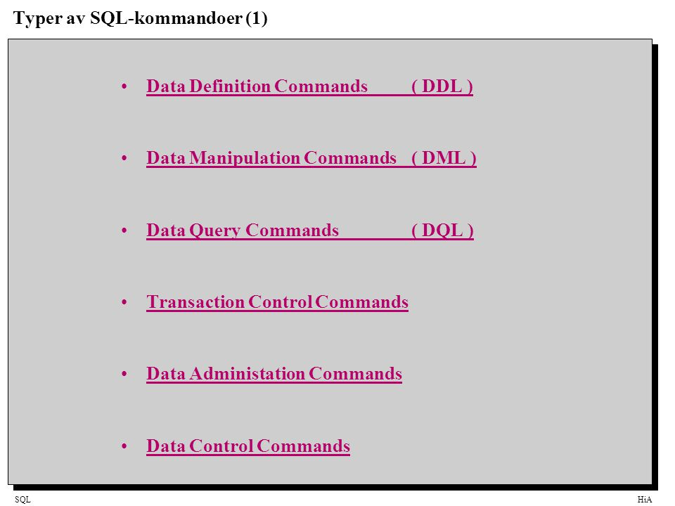 Typer av SQL-kommandoer (1)