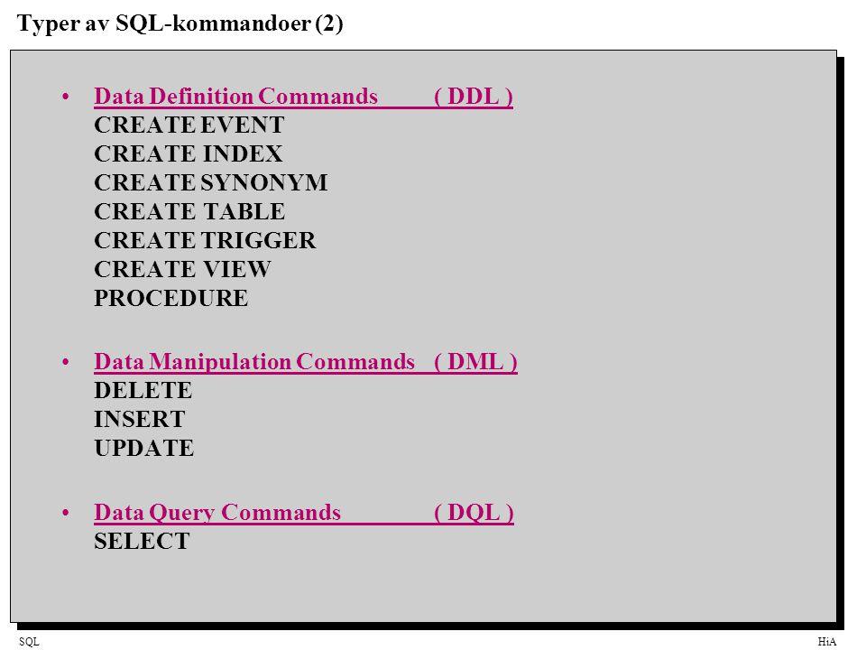 Typer av SQL-kommandoer (2)