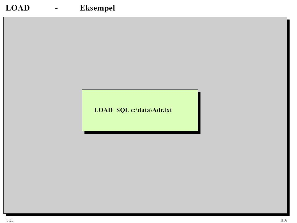 LOAD - Eksempel LOAD SQL c:\data\Adr.txt