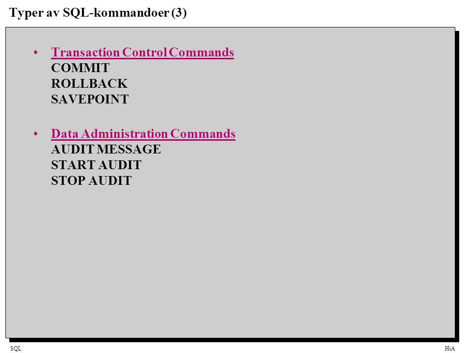 Typer av SQL-kommandoer (3)