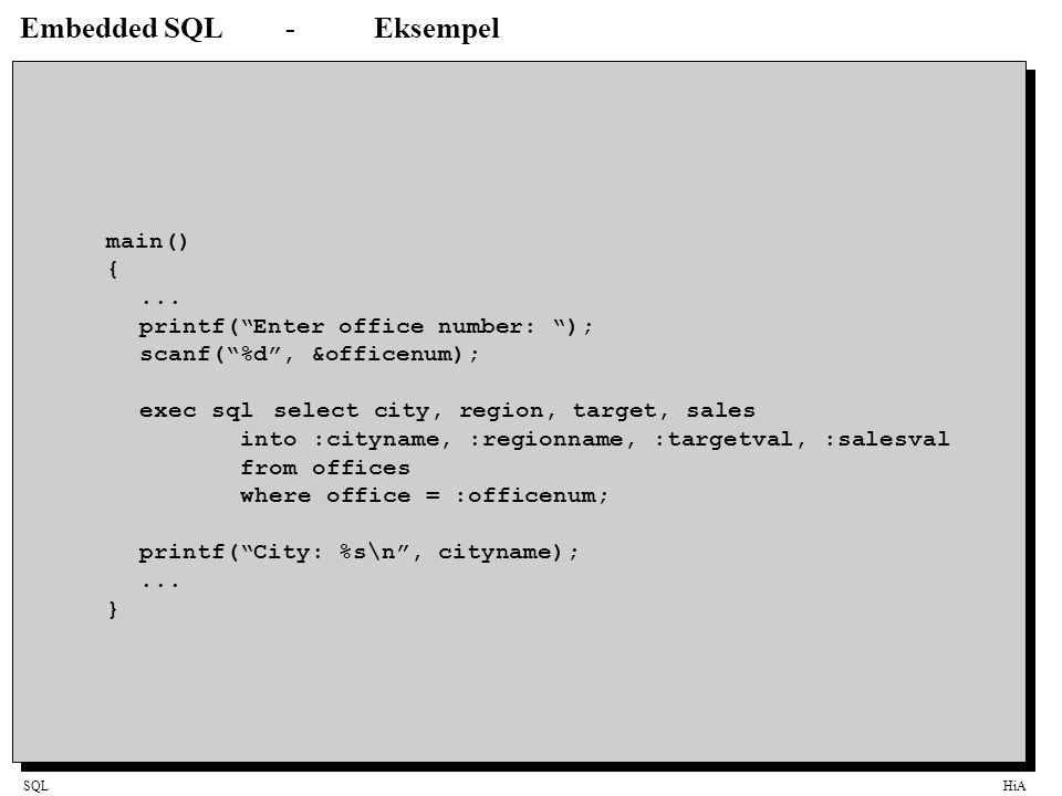 Embedded SQL - Eksempel