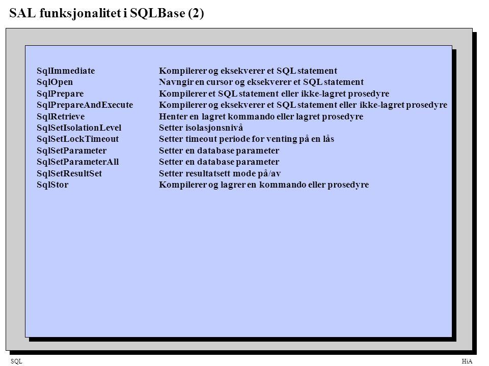 SAL funksjonalitet i SQLBase (2)