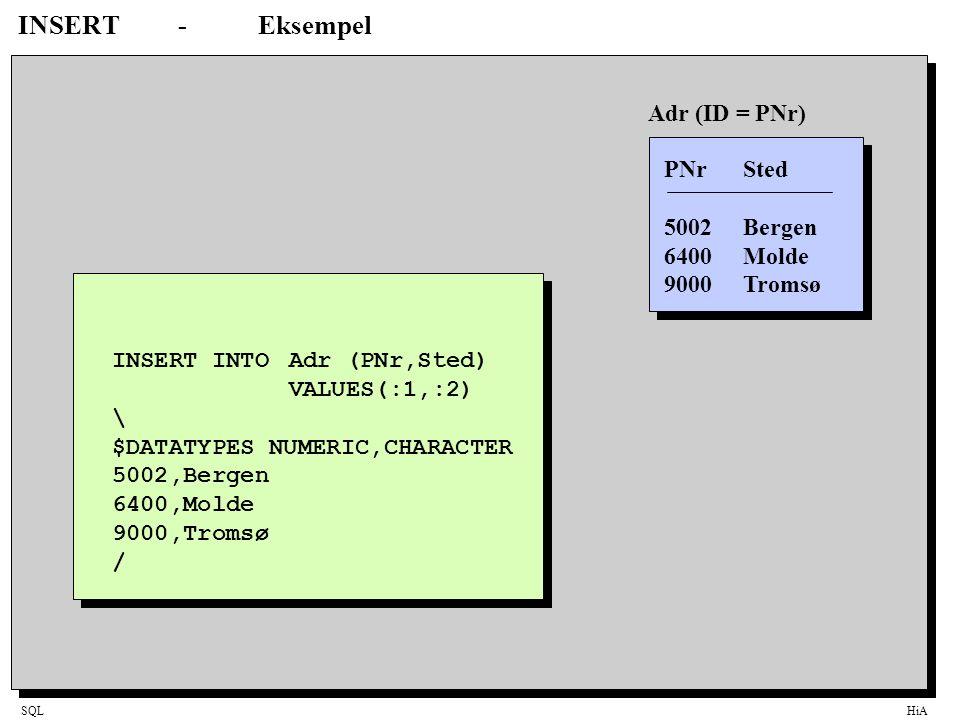 INSERT - Eksempel Adr (ID = PNr) PNr Sted 5002 Bergen 6400 Molde
