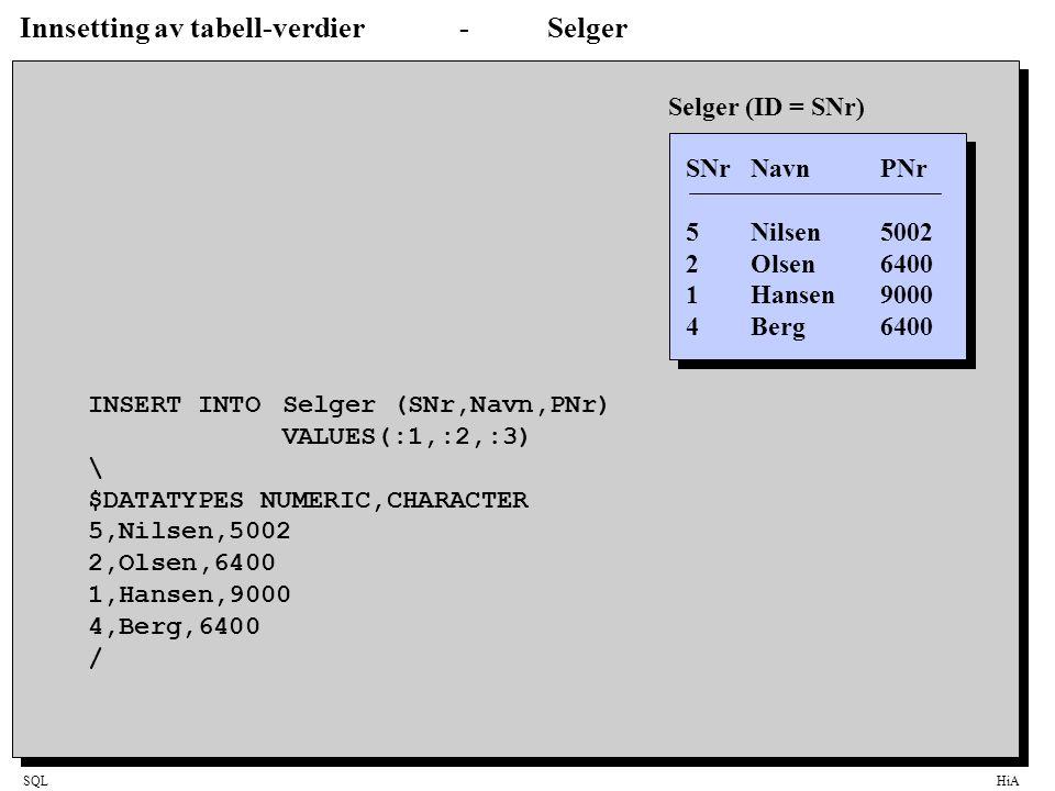 Innsetting av tabell-verdier - Selger
