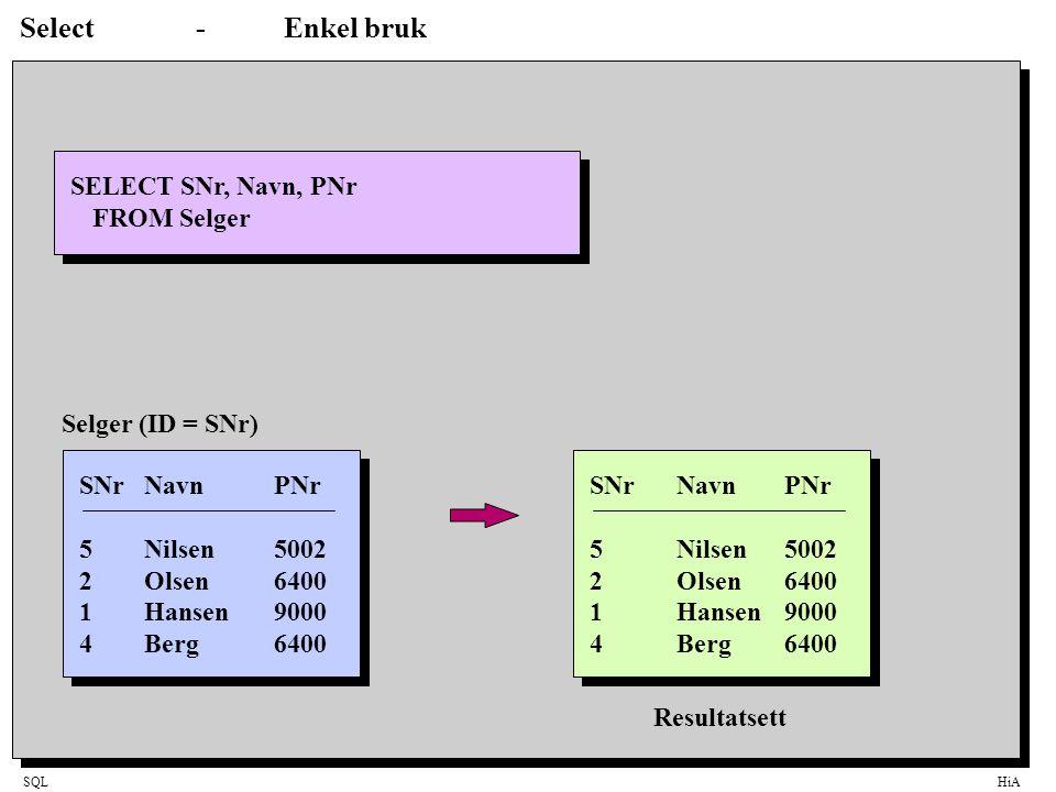 Select - Enkel bruk SELECT SNr, Navn, PNr FROM Selger