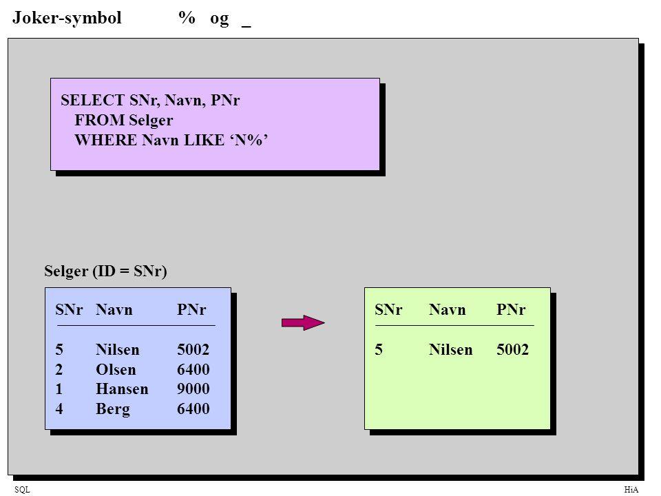 Joker-symbol % og _ SELECT SNr, Navn, PNr FROM Selger