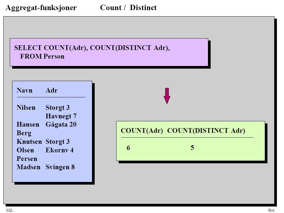 Aggregat-funksjoner Count / Distinct